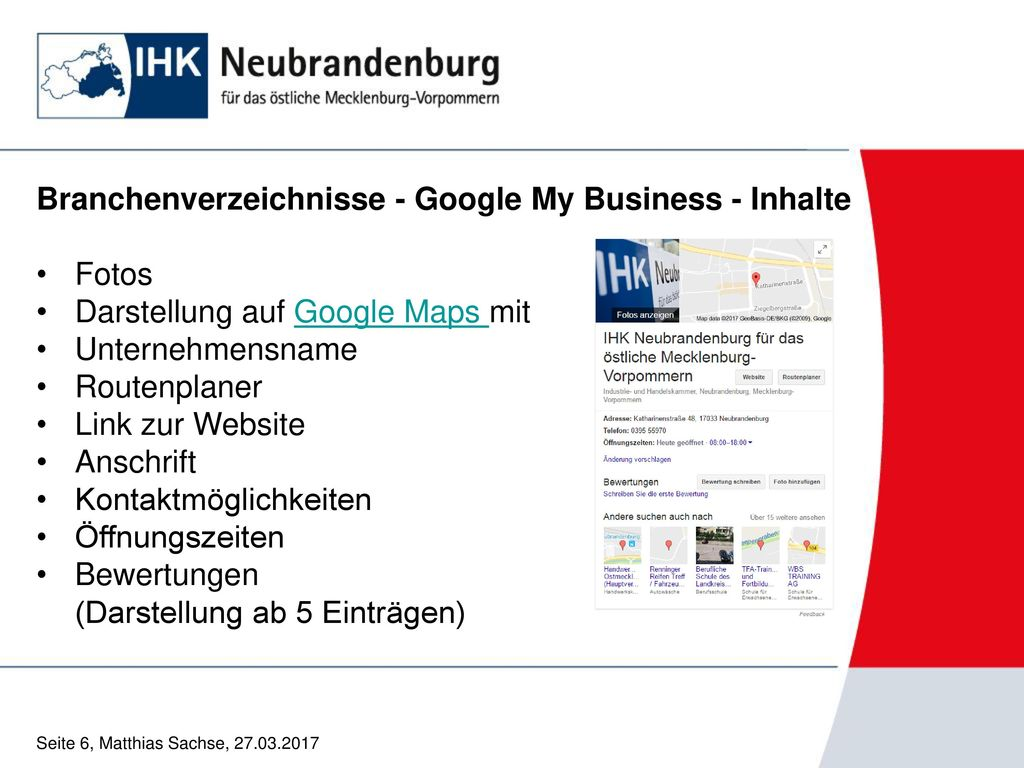Branchenverzeichnisse - Google My Business - Inhalte Fotos