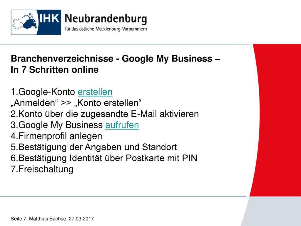 Branchenverzeichnisse - Google My Business – In 7 Schritten online