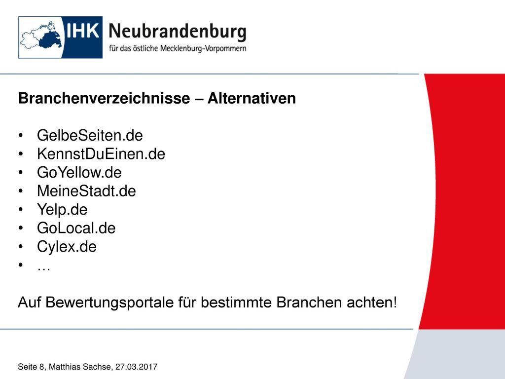 Branchenverzeichnisse – Alternativen GelbeSeiten.de KennstDuEinen.de