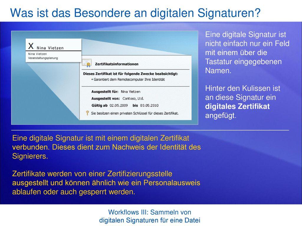Was ist das Besondere an digitalen Signaturen