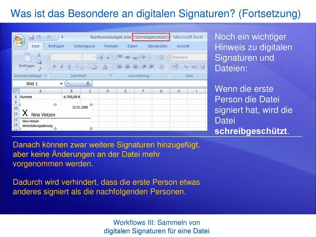 Was ist das Besondere an digitalen Signaturen (Fortsetzung)