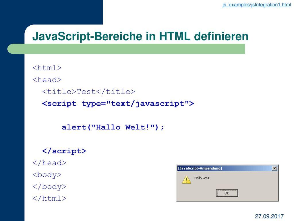 JavaScript-Bereiche in HTML definieren
