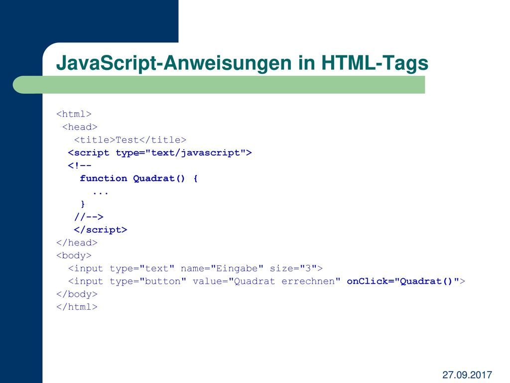 JavaScript-Anweisungen in HTML-Tags