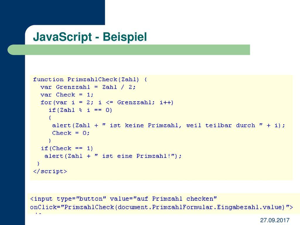 JavaScript - Beispiel 27.09.2017