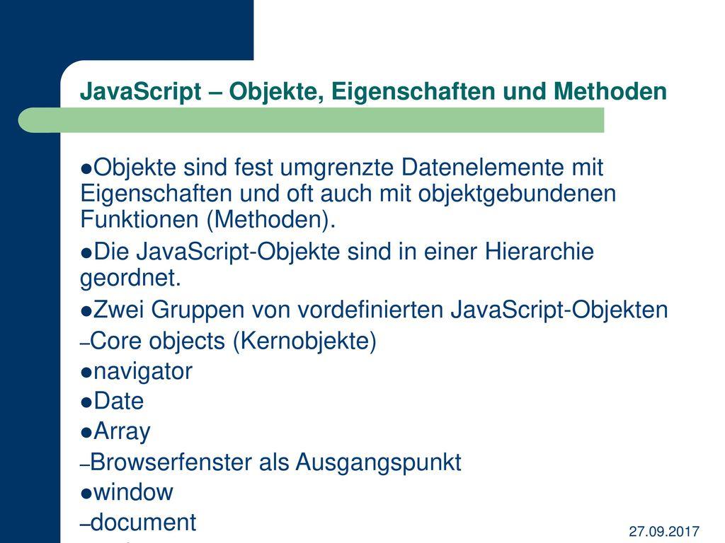 JavaScript – Objekte, Eigenschaften und Methoden
