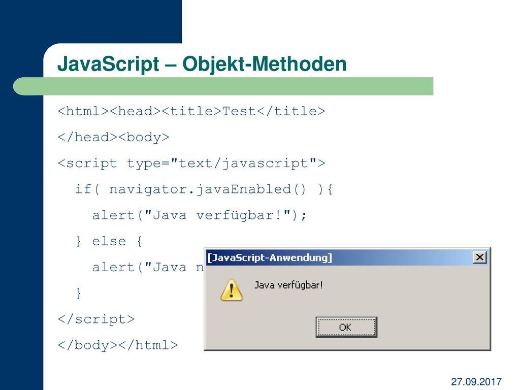 JavaScript – Objekt-Methoden