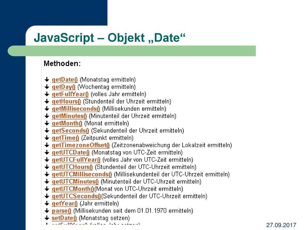"JavaScript – Objekt ""Date"