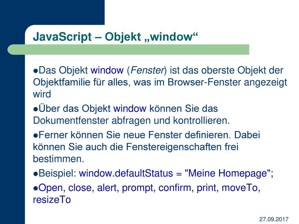 """JavaScript – Objekt """"window"""