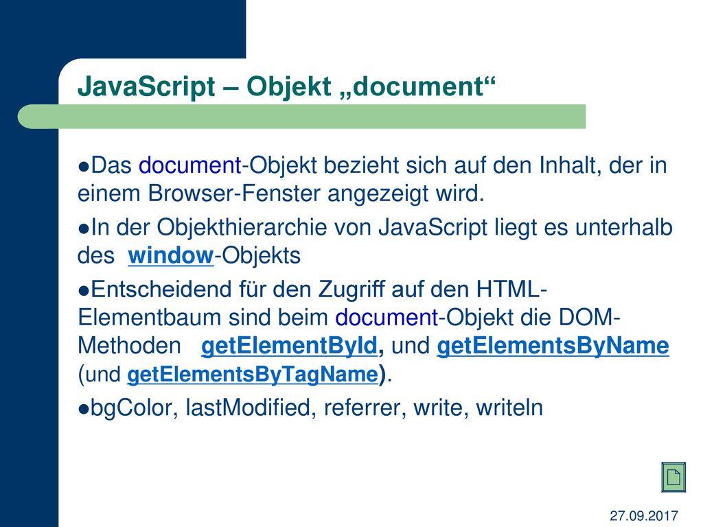 "JavaScript – Objekt ""document"