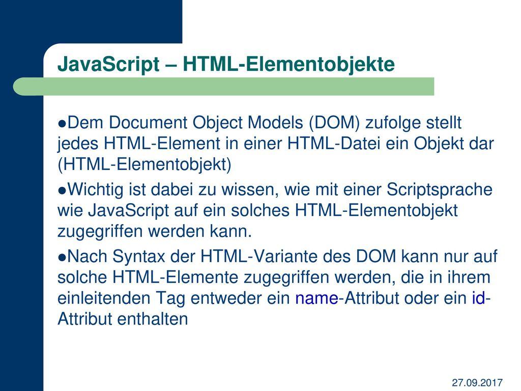 JavaScript – HTML-Elementobjekte