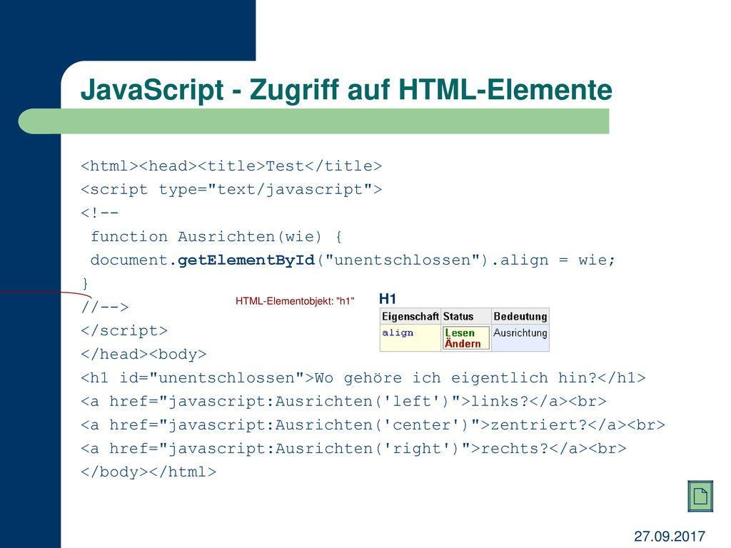JavaScript - Zugriff auf HTML-Elemente