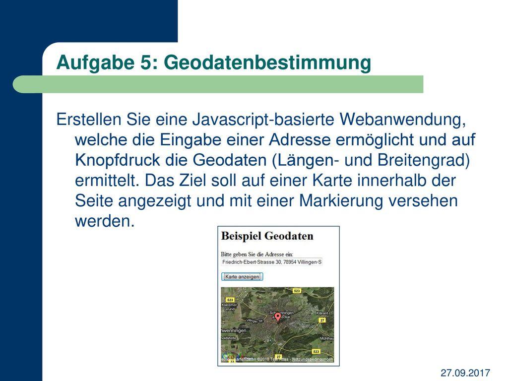 Aufgabe 5: Geodatenbestimmung