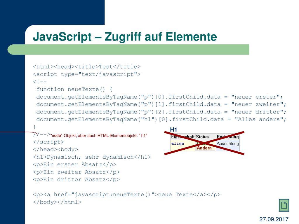 JavaScript – Zugriff auf Elemente
