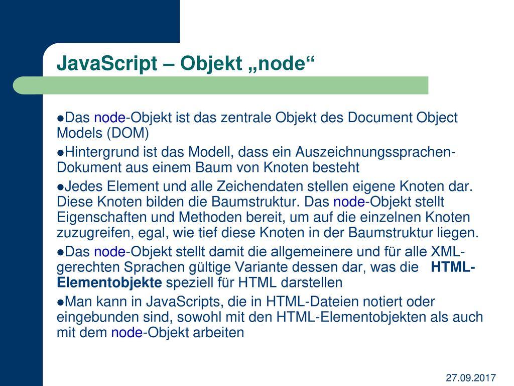 "JavaScript – Objekt ""node"