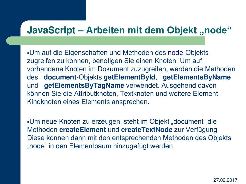 "JavaScript – Arbeiten mit dem Objekt ""node"