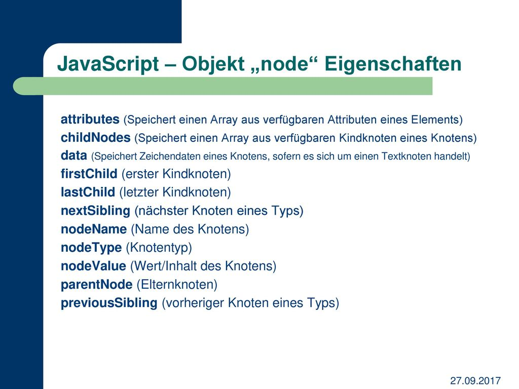 "JavaScript – Objekt ""node Eigenschaften"
