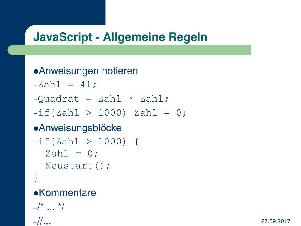 JavaScript - Allgemeine Regeln