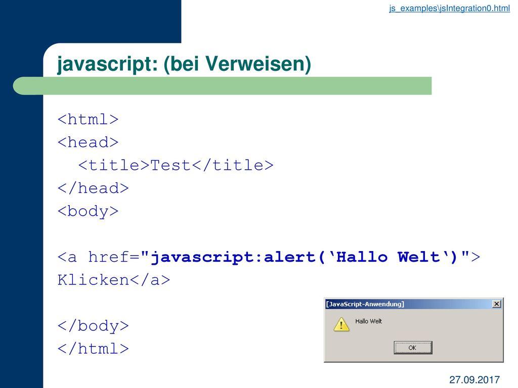 javascript: (bei Verweisen)