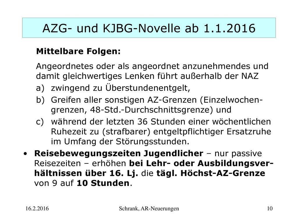 AZG- und KJBG-Novelle ab 1.1.2016