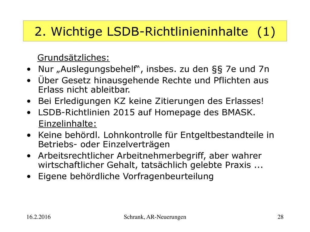 2. Wichtige LSDB-Richtlinieninhalte (1)