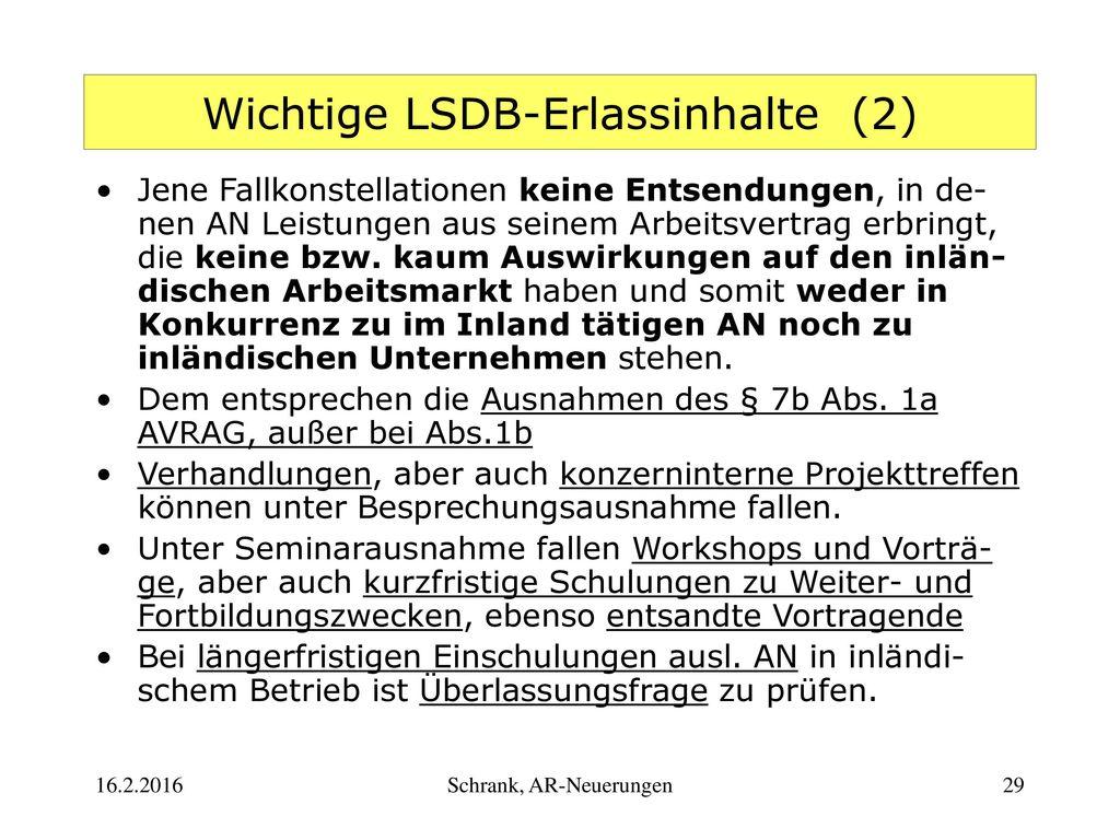 Wichtige LSDB-Erlassinhalte (2)