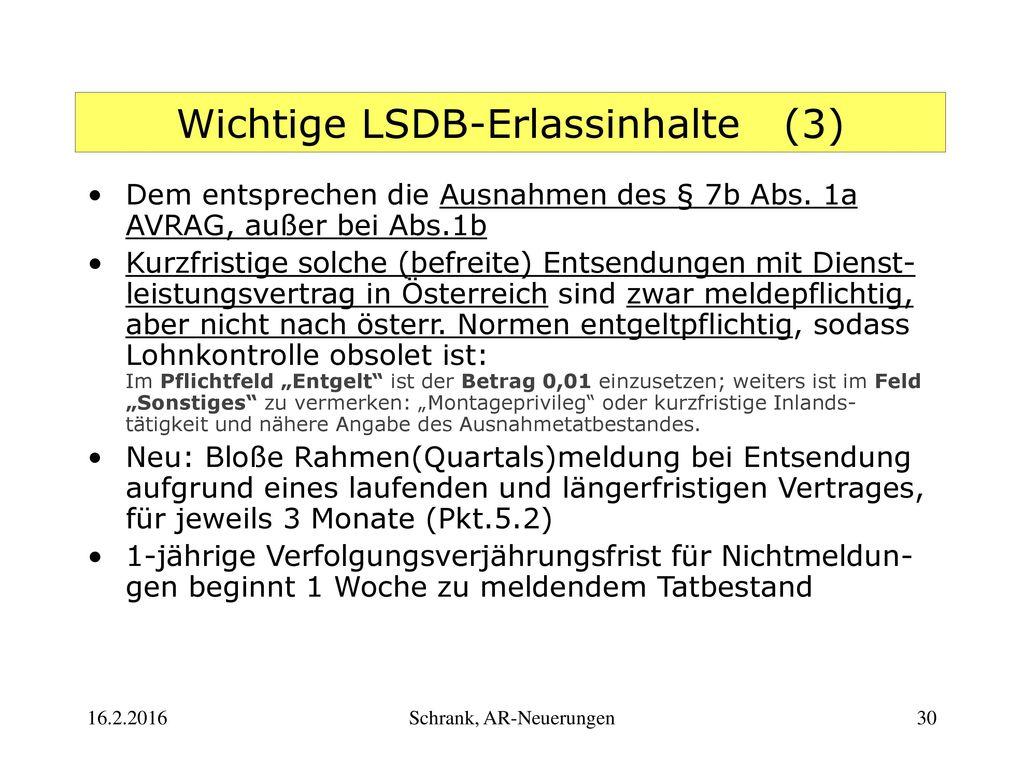 Wichtige LSDB-Erlassinhalte (3)