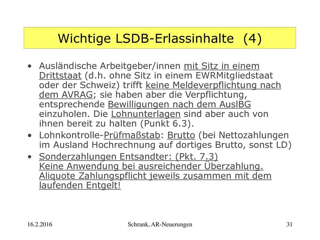 Wichtige LSDB-Erlassinhalte (4)