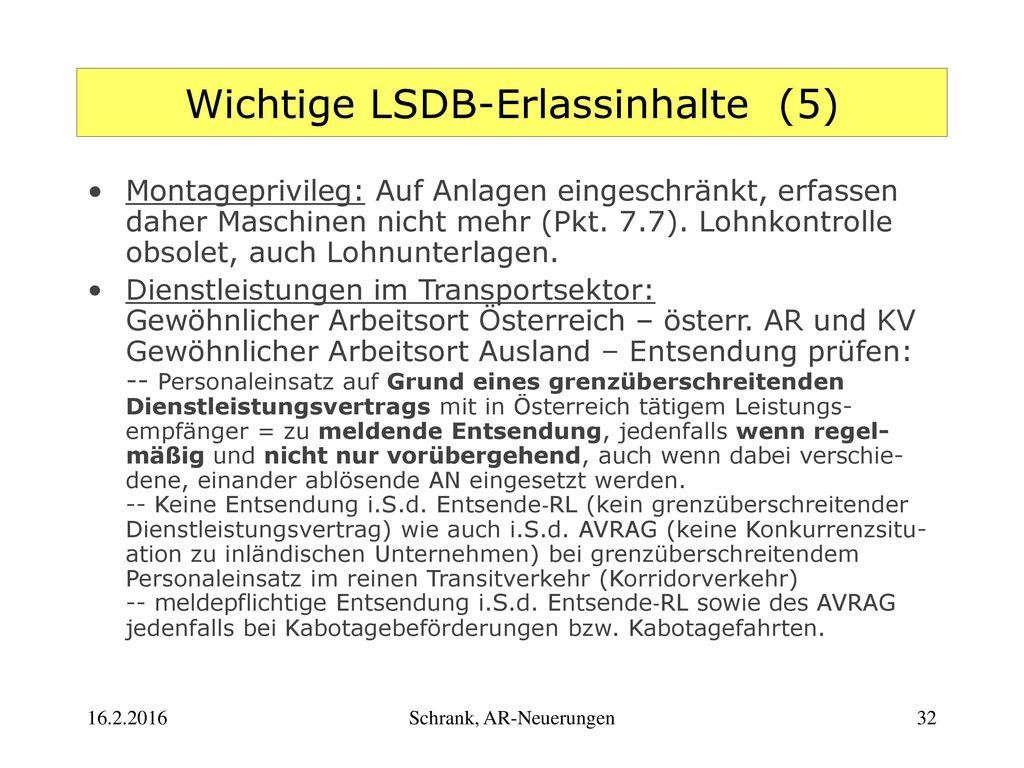 Wichtige LSDB-Erlassinhalte (5)