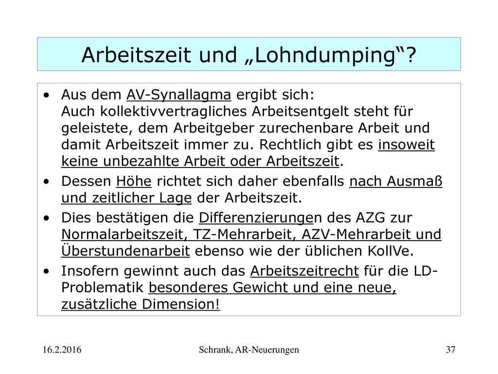 """Arbeitszeit und """"Lohndumping"""