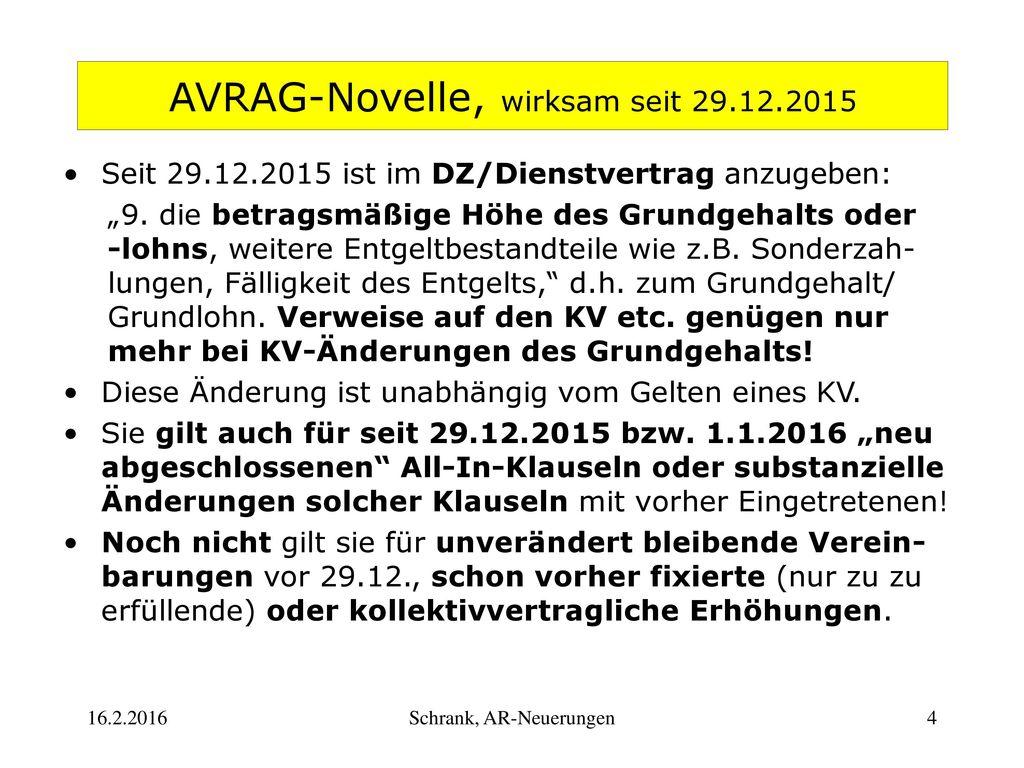 AVRAG-Novelle, wirksam seit 29.12.2015
