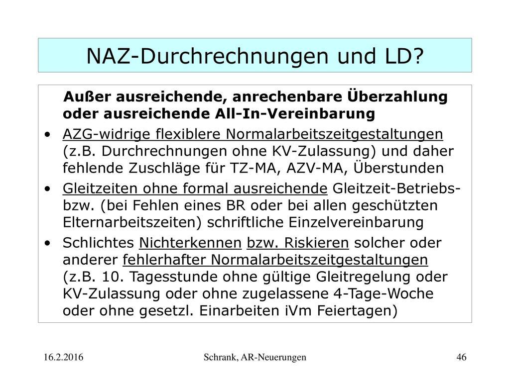 NAZ-Durchrechnungen und LD
