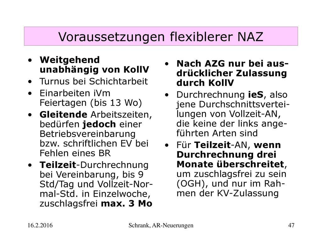 Voraussetzungen flexiblerer NAZ
