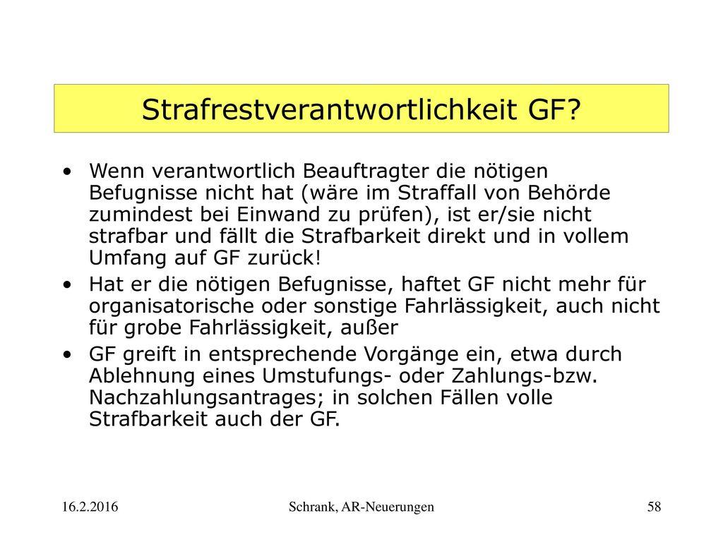 Strafrestverantwortlichkeit GF