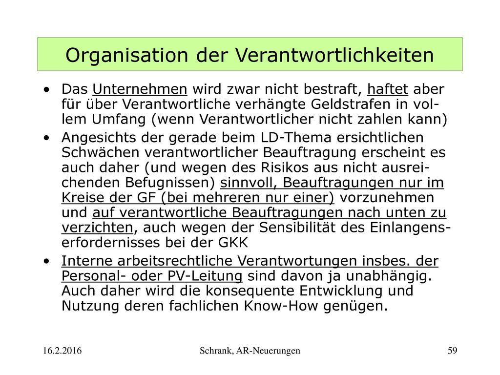 Organisation der Verantwortlichkeiten