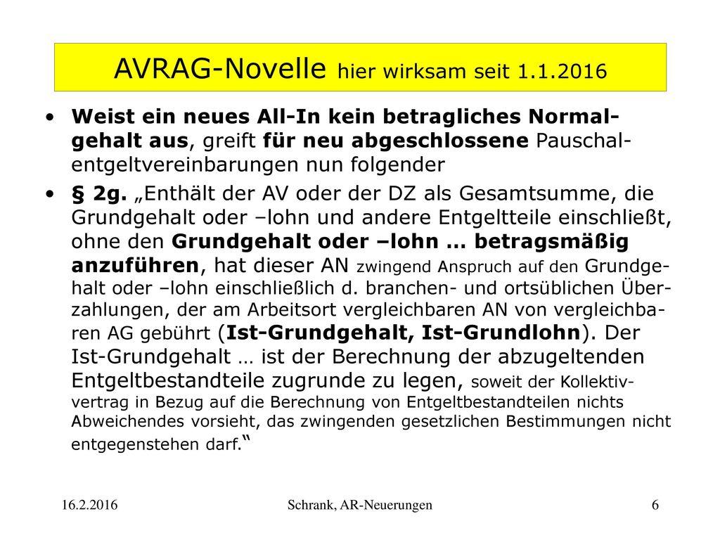 AVRAG-Novelle hier wirksam seit 1.1.2016
