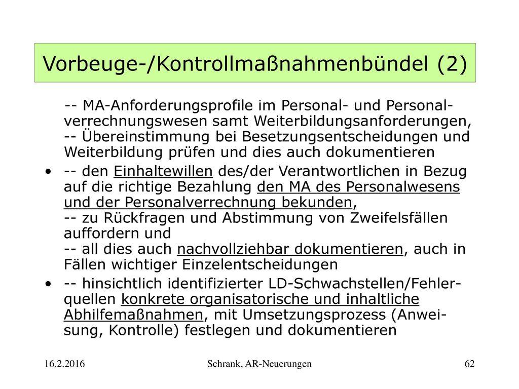 Vorbeuge-/Kontrollmaßnahmenbündel (2)