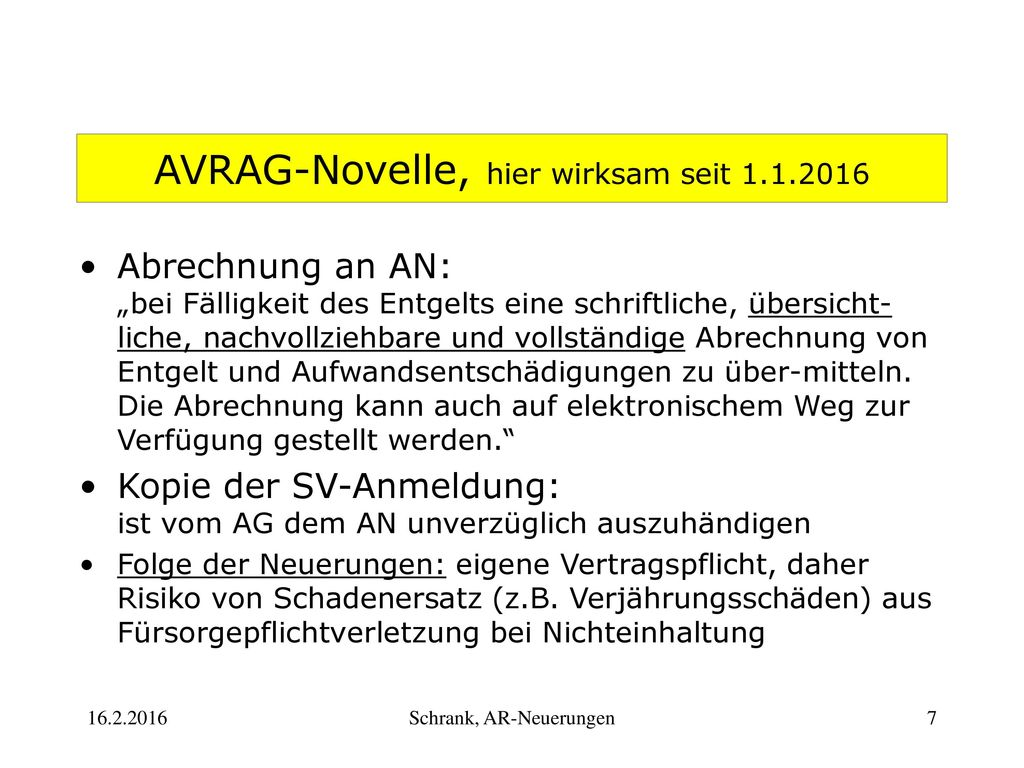 AVRAG-Novelle, hier wirksam seit 1.1.2016