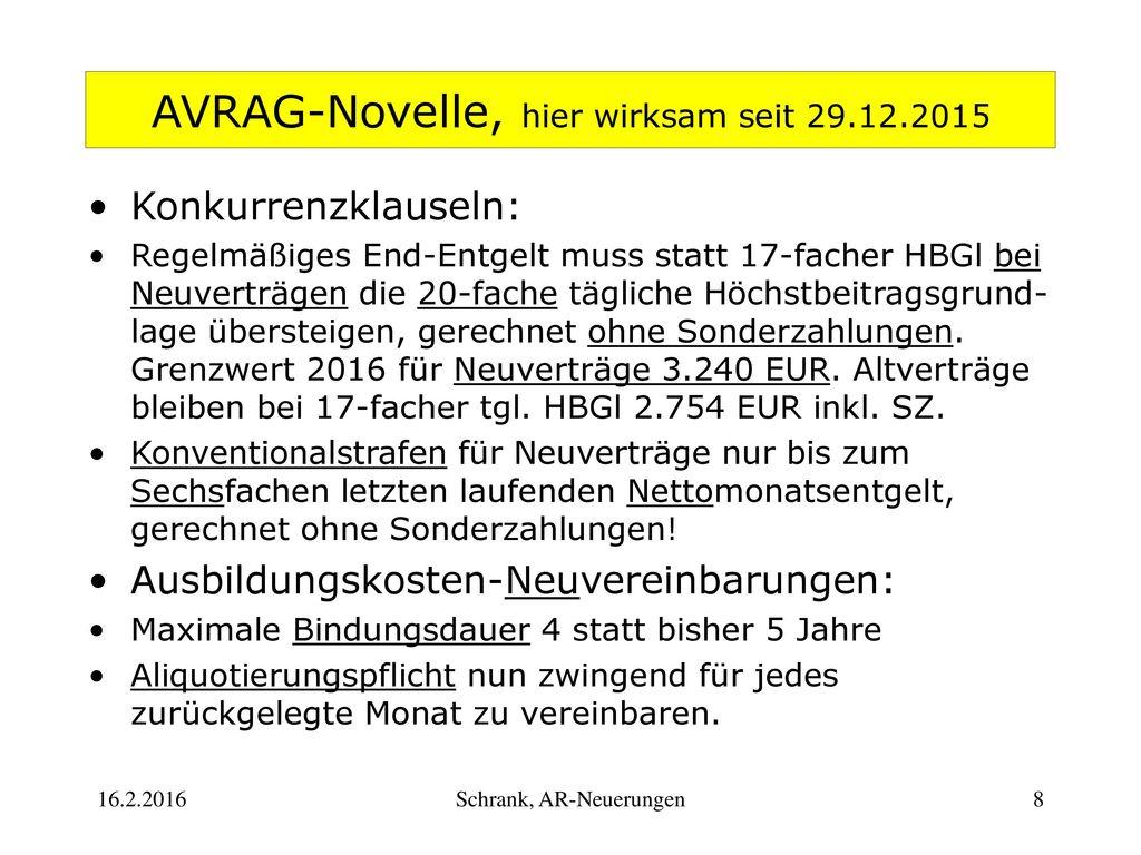 AVRAG-Novelle, hier wirksam seit 29.12.2015
