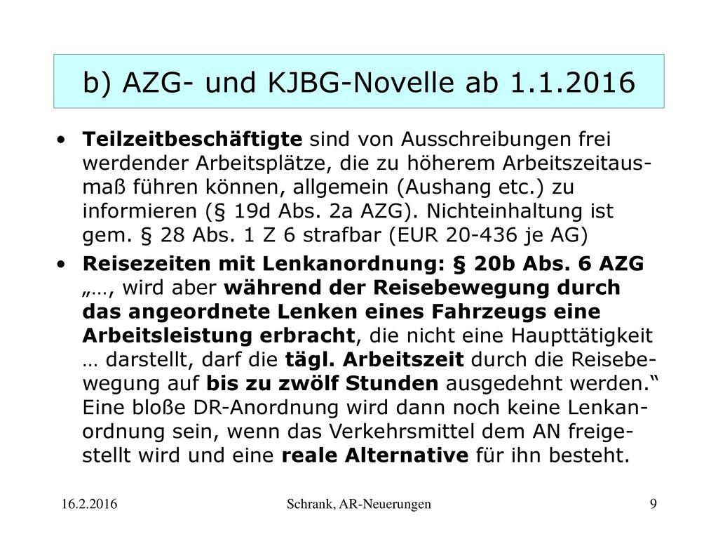 b) AZG- und KJBG-Novelle ab 1.1.2016