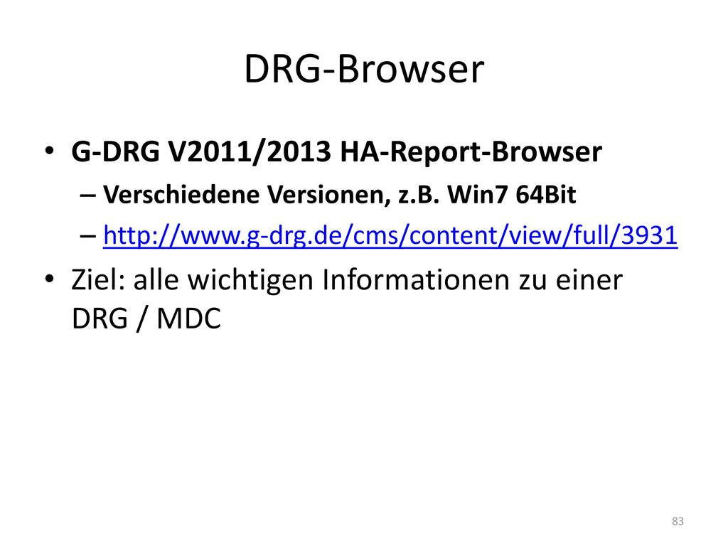 DRG-Browser G-DRG V2011/2013 HA-Report-Browser