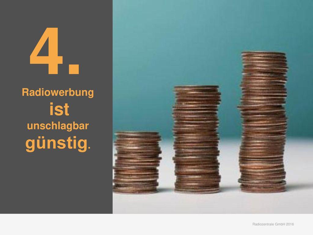 4. Radiowerbung ist unschlagbar günstig. Radiozentrale GmbH 2016