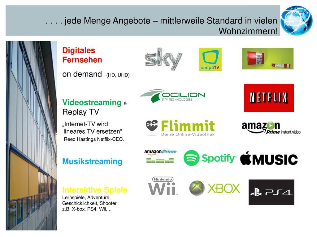 Wohnzimmern! Digitales Fernsehen on demand (HD, UHD)