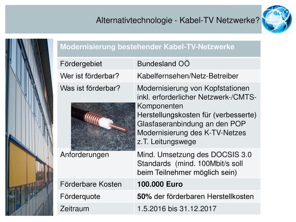 Alternativtechnologie - Kabel-TV Netzwerke