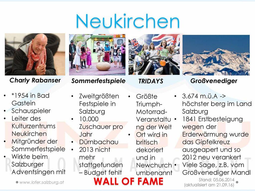 Neukirchen WALL OF FAME Charly Rabanser *1954 in Bad Gastein