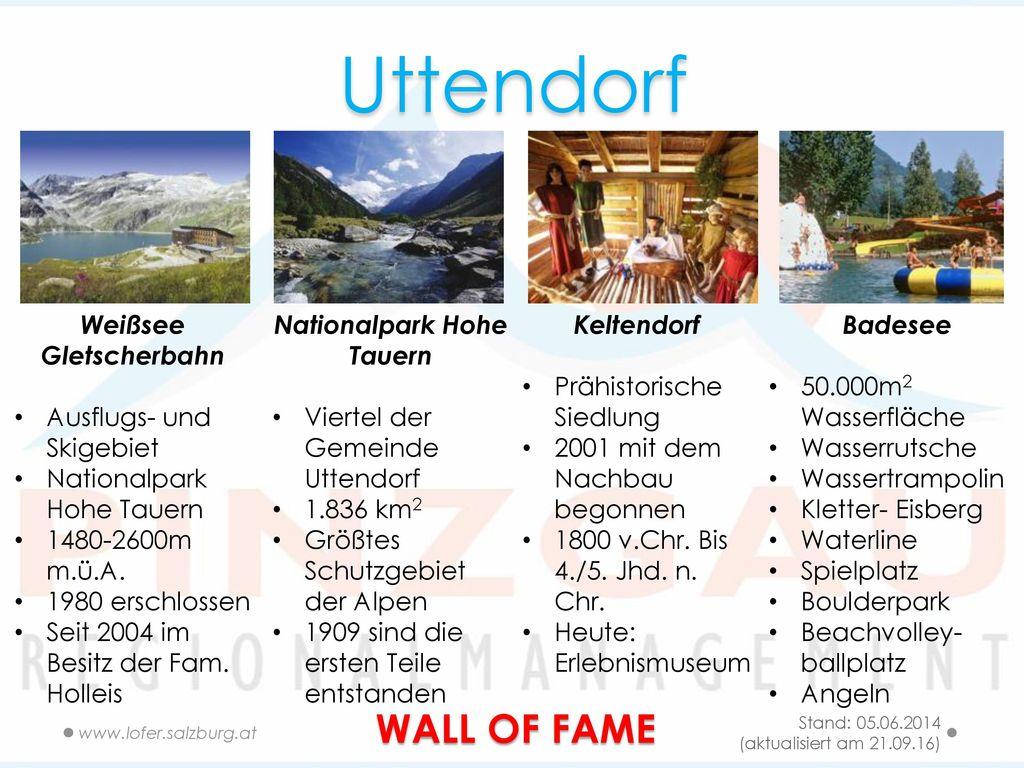 Uttendorf WALL OF FAME Weißsee Gletscherbahn Ausflugs- und Skigebiet