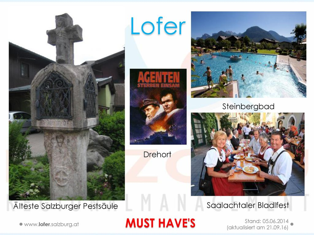Lofer MUST HAVE S Steinbergbad Drehort Älteste Salzburger Pestsäule