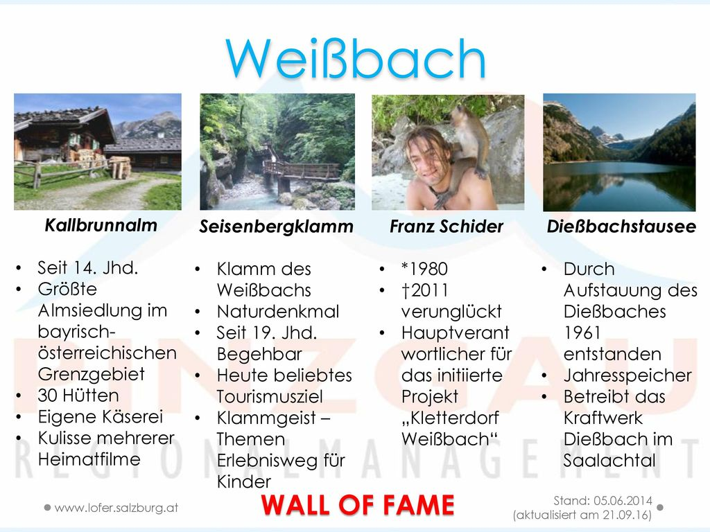 Weißbach WALL OF FAME Kallbrunnalm Seit 14. Jhd.