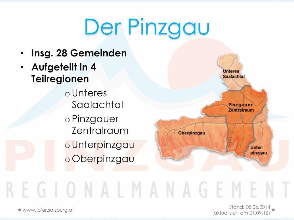 Der Pinzgau Insg. 28 Gemeinden Aufgeteilt in 4 Teilregionen