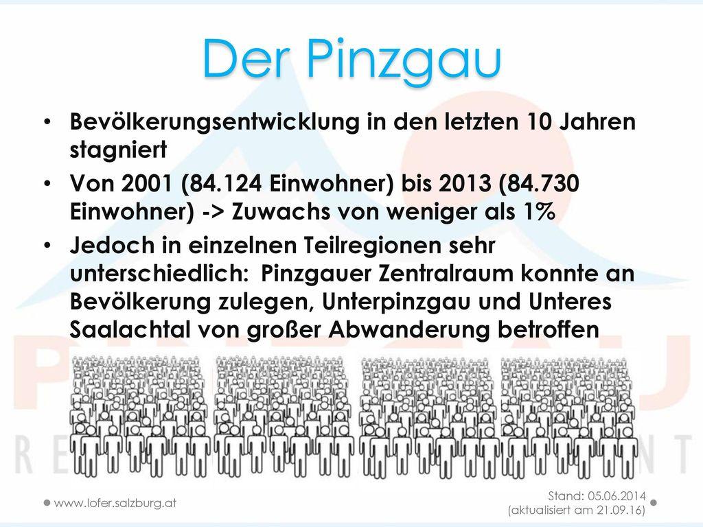 Der Pinzgau Bevölkerungsentwicklung in den letzten 10 Jahren stagniert
