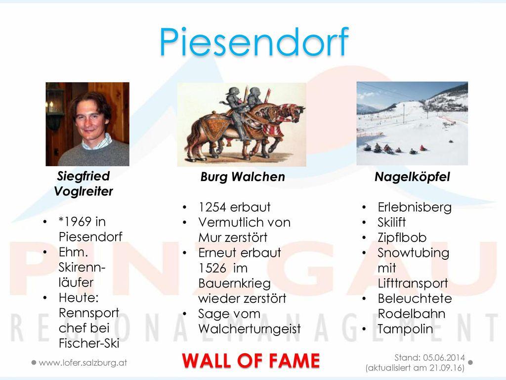 Piesendorf WALL OF FAME Siegfried Voglreiter *1969 in Piesendorf